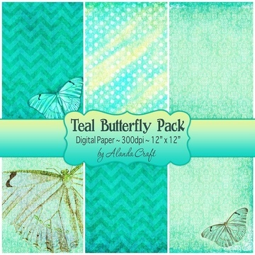 teal-butterfly-digital -backgrounds,scrapbooking, paper craft, card making, digital downloads