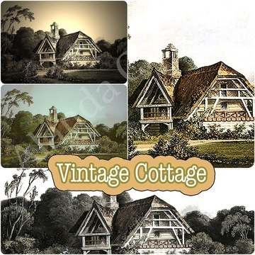 Vintage-cottage,digital download, scrapbooking, photo transfer, paper craft,