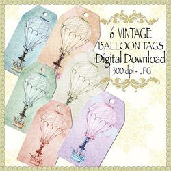 vintage-balloon-tags,digital download, scrapbooking, paper craft, card making
