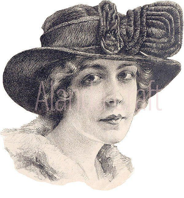vintage-lady-with-hat,scrapbooking, paper craft, card craft, photo transfer